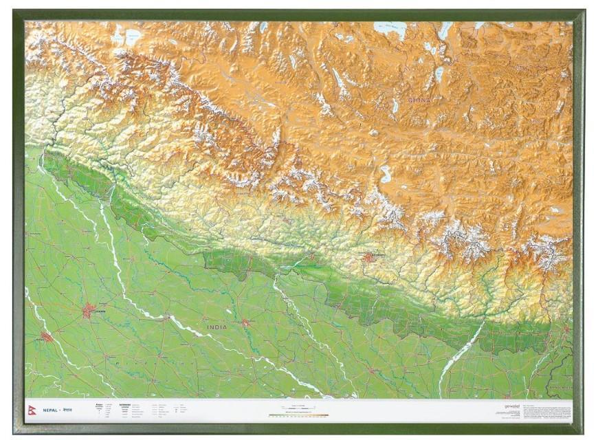 Nepal Gross 1:1.150.000 mit Holzrahmen: Andrè Markgraf