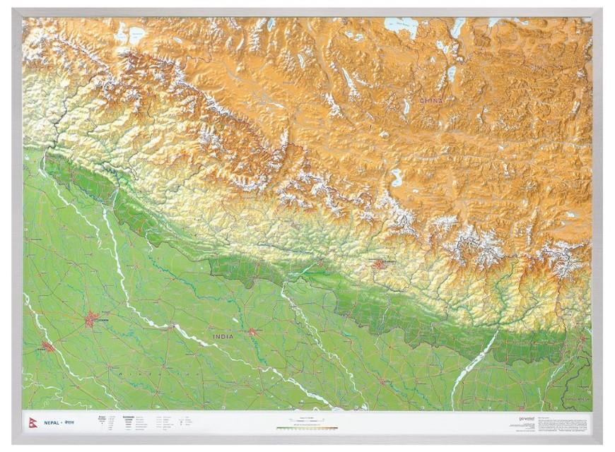 Nepal Gross 1:1.150.000 mit Aluminiumrahmen: Andrè Markgraf