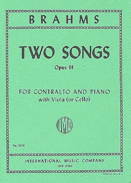 2 Songs op.91 : for contralto andpiano: Johannes Brahms