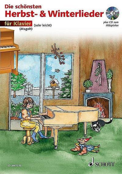 Die schönsten Herbst- & Winterlieder, für Klavier, m. Audio-CD : Sankt Martin, Nikolauslieder und Weihnachtlieder. Schwierigkeit: 2. CD zum Mitspielen - Christa Estenfeld-Kropp