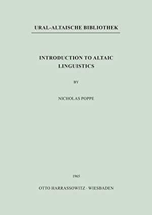 Introduction to Altaic Linguistics: Nicholas Poppe