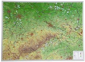 Sachsen Gross 1:325.000: Reliefkarte Sachsen ohne Rahmen (Tiefgezogenes Kunststoffrelief) : ...