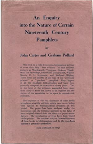AN ENQUIRY INTO THE NATURE OF CERTAIN NINETEENTH CENTURY PAMPHLETS: With the FOOTNOTE TO AN ENQUIRY...