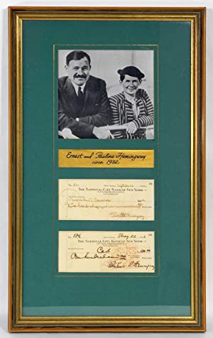 TWO SIGNED CHECKS: ONE SIGNED BY ERNEST,: Hemingway, Ernest &