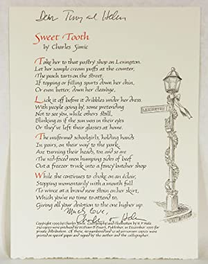 SWEET TOOTH: (Broadside Poem)