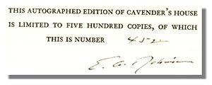 CAVENDER'S HOUSE.: Robinson, Edwin Arlington.