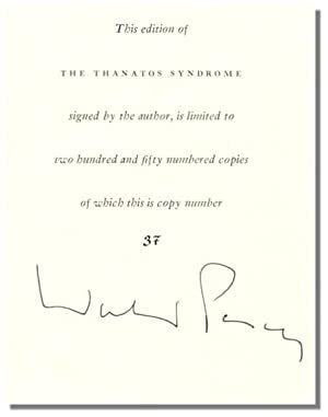 THE THANATOS SYNDROME.: Percy, Walker.