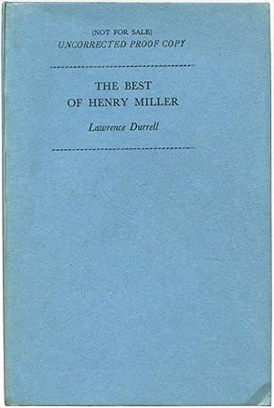 THE BEST OF HENRY MILLER.: Miller, Henry.