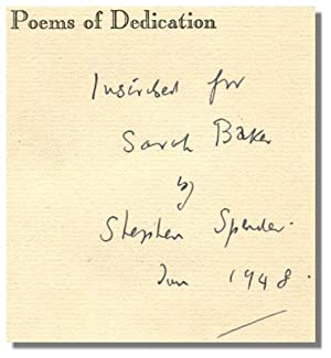 POEMS OF DEDICATION.: Spender, Stephen.