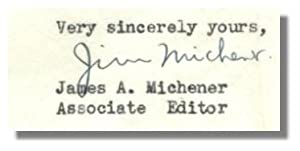 TWO TYPED LETTERS, SIGNED.: Michener, James A.