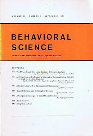 Behavioral Science (Volume 20, Number 5, September 1975) Journal of the Society for General Syste...