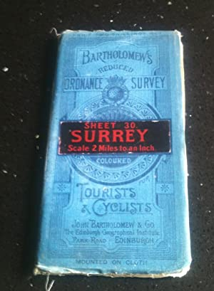 Bartholomew's Reduced Ordnance Survey Sheet 30 Surrey Scale 2 Miles to an Inch