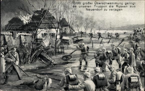 Ansichtskarte / Postkarte Trotz großer Überschwemmung gelingt es deutschen Truppen Russen aus Neuendorf zu verjagen, I. WK
