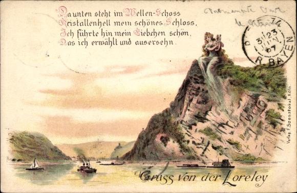 Litho St Goarshausen Im Rhein Lahn Kreis