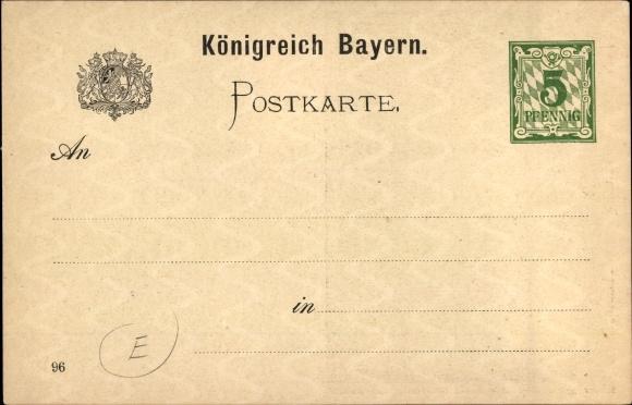 Diverse Philatelie Nürnberg Bayern Landesausstellung 1896 Stempel Postkarten Ganzsache Bayern 5 Pf.