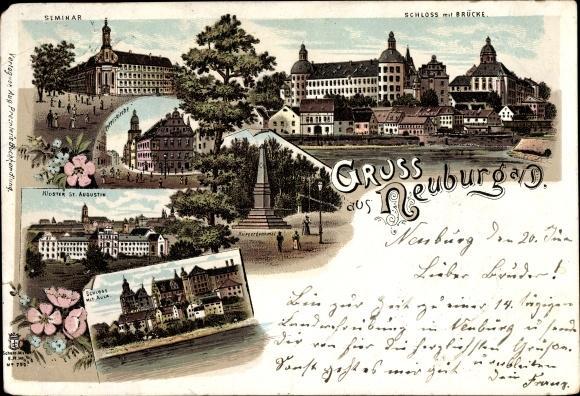 Ak Neuburg An Der Donau Oberbayern 915525 Flusspartie Mit Blick Auf Den Ort