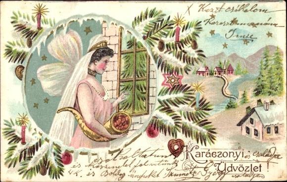 Frohe Weihnachten Ungarisch.Prage Ansichtskarte Postkarte Frohe