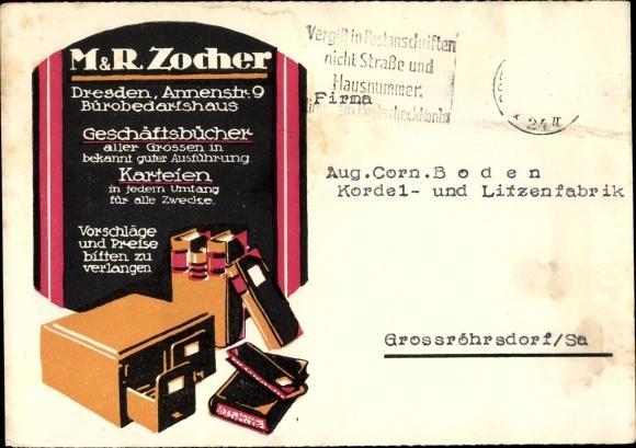 Ansichtskarte Postkarte Dresden M Und R Zocher Bürobedarf