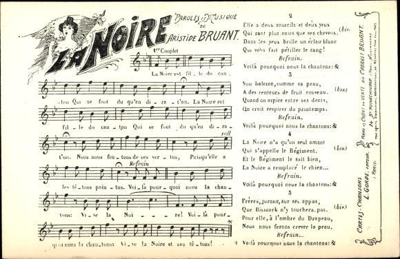 Lied Ansichtskarte / Postkarte La Noire, Paroles