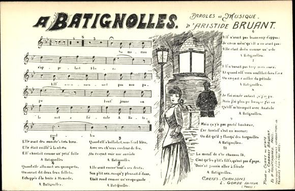 Lied Ansichtskarte / Postkarte A Batignolles, Paroles