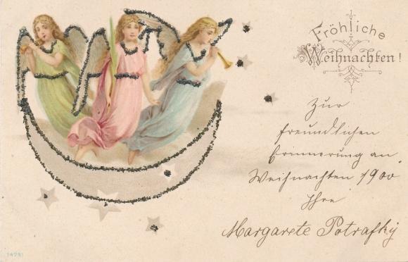 Frohe Weihnachten Glitzer.Glitzer Ansichtskarte Postkarte Frohe