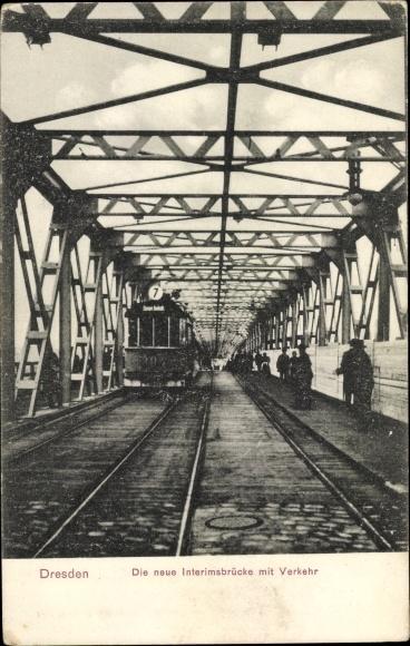 Ansichtskarte / Postkarte Dresden, Die neue Interimsbrücke