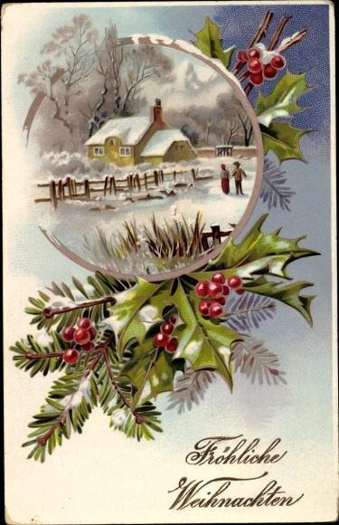 ansichtskarte postkarte frohe weihnachten tannenzweig. Black Bedroom Furniture Sets. Home Design Ideas