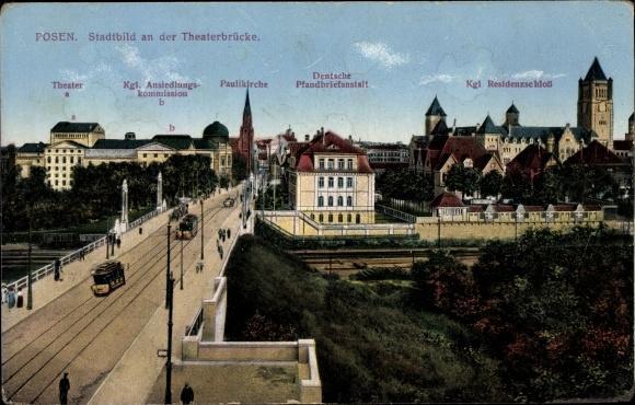Ansichtskarte / Postkarte Posen, Theaterbrücke, Residenzschloss, Pfandbriefanstalt, Paulikirche