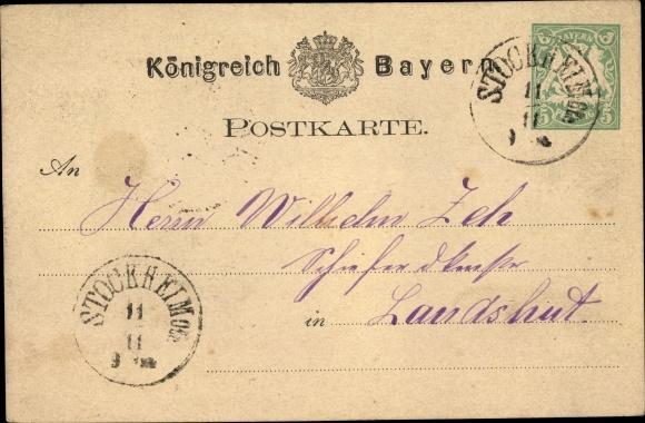 Nürnberg Bayern Landesausstellung 1896 Stempel Postkarten Ganzsache Bayern 5 Pf. Deutschland Ansichtskarten