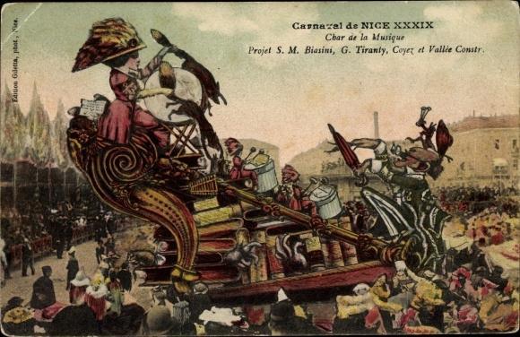 Ansichtskarte / Postkarte Nice Nizza Alpes Maritimes, Carnaval XXXIX, Char de la Musique, Biasini, Tiranty, Coyez