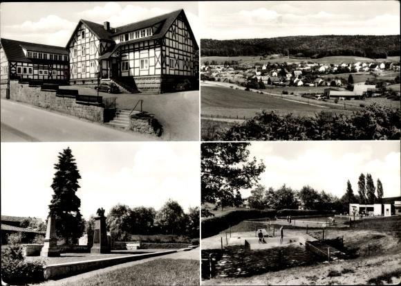 Ansichtskarte / Postkarte Berndorf Twistetal Waldeck Frankenberg in Hessen, Gasthaus, Total, Gedenkstein, Freibad