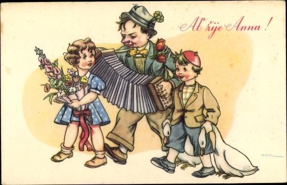 Ansichtskarte Postkarte Glückwunsch Namenstag Es Lebe Anna