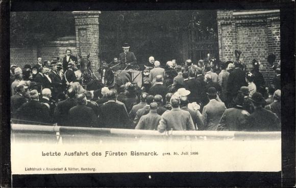 Passepartout Ansichtskarte / Postkarte Otto von Bismarck, Herzog zu Lauenburg, Bundeskanzler, Letzte Ausfahrt, 30 Juli 1898