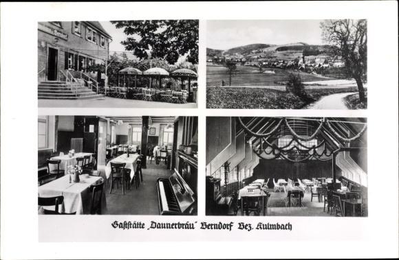 Ansichtskarte / Postkarte Berndorf Thurnau Oberfranken, Gaststätte Donnerbräu, Terrasse, Gastraum