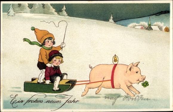 Ansichtskarte Postkarte Glückwunsch Neujahr Schwein Zieht