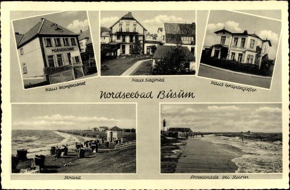 Ansichtskarte / Postkarte Büsum Kreis Dithmarschen, Haus Grapengießer, Siegfried, Morgensonne, Strand