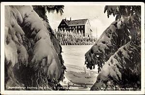 Ansichtskarte / Postkarte Klingenthal, Jugendherberge Aschberg, Winteraufnahme,