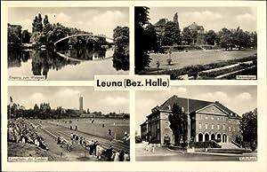 Ansichtskarte / Postkarte Leuna, Waldbad, Parkanlagen, Kampfbahn