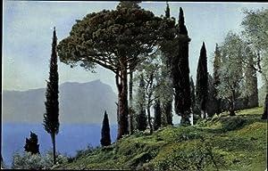 Ansichtskarte / Postkarte Gardasee, Cypressenstudie, San Vigilio,