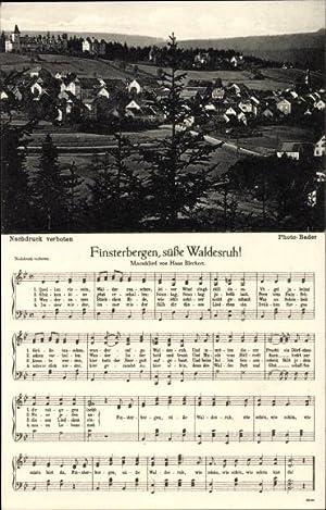 Lied Ansichtskarte / Postkarte Finsterbergen Friedrichroda Thüringen,