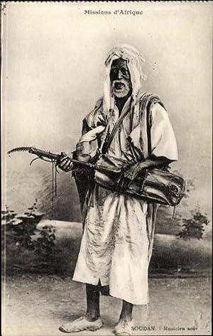 Ansichtskarte / Postkarte Missions d'Afrique, Sudan, Musicien