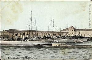 Ansichtskarte / Postkarte Toulon, Französisches Kriegsschiff, L'Arsenal,