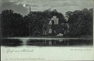 Mondschein Ansichtskarte / Postkarte Biebrich Wiesbaden in