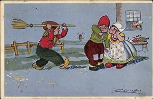 Künstler Ansichtskarte / Postkarte Mauzan, Niederlande, Liebespaar,