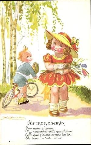 Künstler Ansichtskarte / Postkarte Mauzan, Mädchen mit