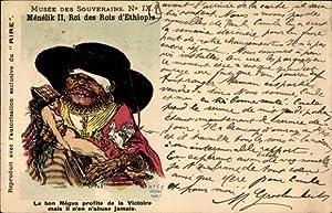 Künstler Ansichtskarte / Postkarte König Ménélik II.