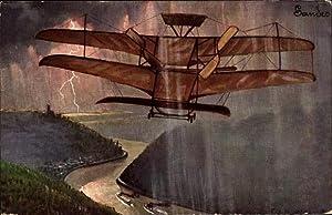 Künstler Ansichtskarte / Postkarte Hildebrandt, Flugzeug, Rhein,