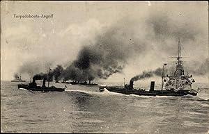 Ansichtskarte / Postkarte Deutsche Kriegsschiffe, Torpedoboots Angriff