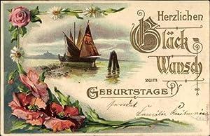 Präge Ansichtskarte / Postkarte Glückwunsch Geburtstag, Rosen,