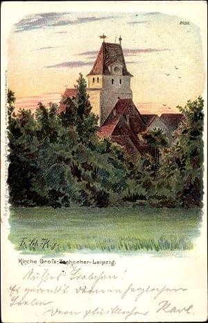 Künstler Litho Großzschocher Leipzig, Kirche, Wald, Turm,